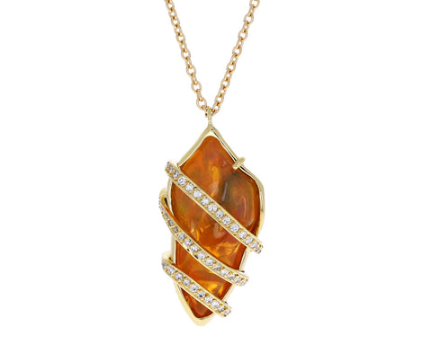Fire Opal and Diamond Twist Pendant Necklace