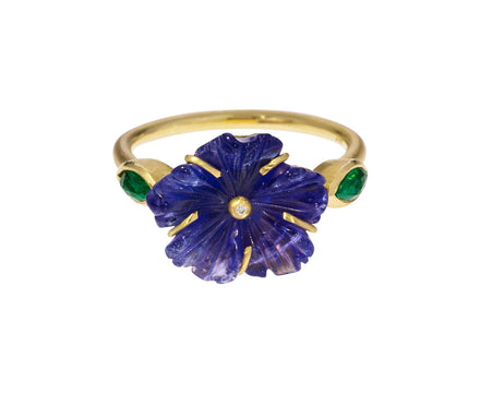 Tanzanite Blossom and Emerald Ring - TWISTonline