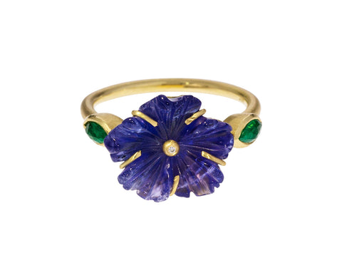 Tanzanite Blossom and Emerald Ring