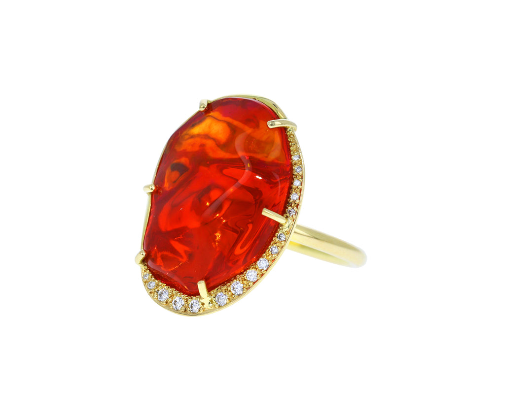 Fire Opal and Diamond Cloud Ring