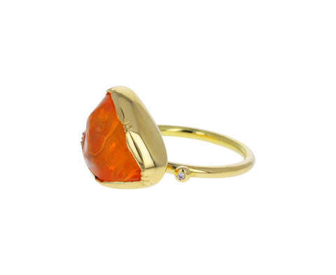 Triangular Fire Opal Cloud Ring
