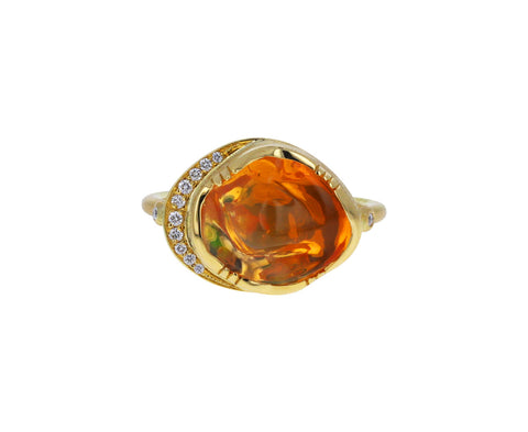 Fire Opal and Diamond Halo Cloud Ring