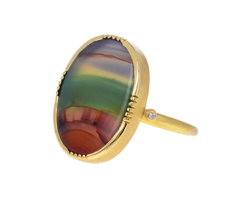Landscape Agate and Diamond Ring