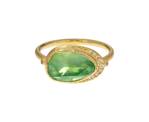 Emerald Ellipse Halo Ring