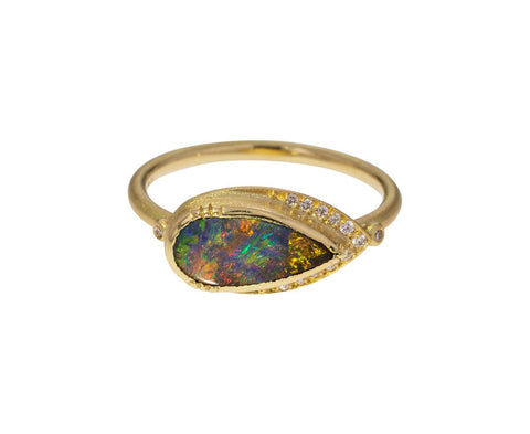 Boulder Opal Diamond Halo Ring - TWISTonline