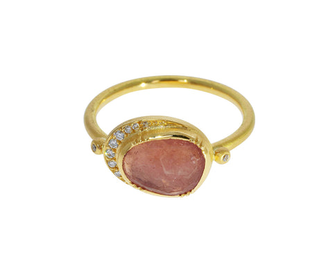 Pink Sapphire Ellipse Halo Ring