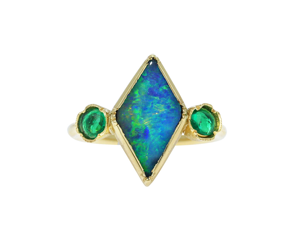Boulder Opal and Emerald Kite Ring