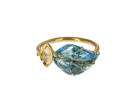 Aquamarine Leaf and Diamond Maya Ring zoom 1_brooke_gregson_gold_aquamarine_diamond_maya_leaf