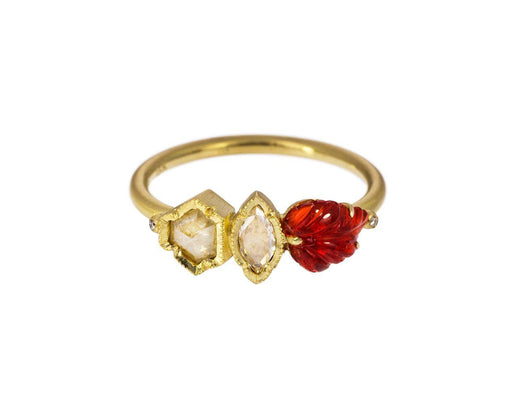 Diamond and Fire Opal Maya Ring - TWISTonline