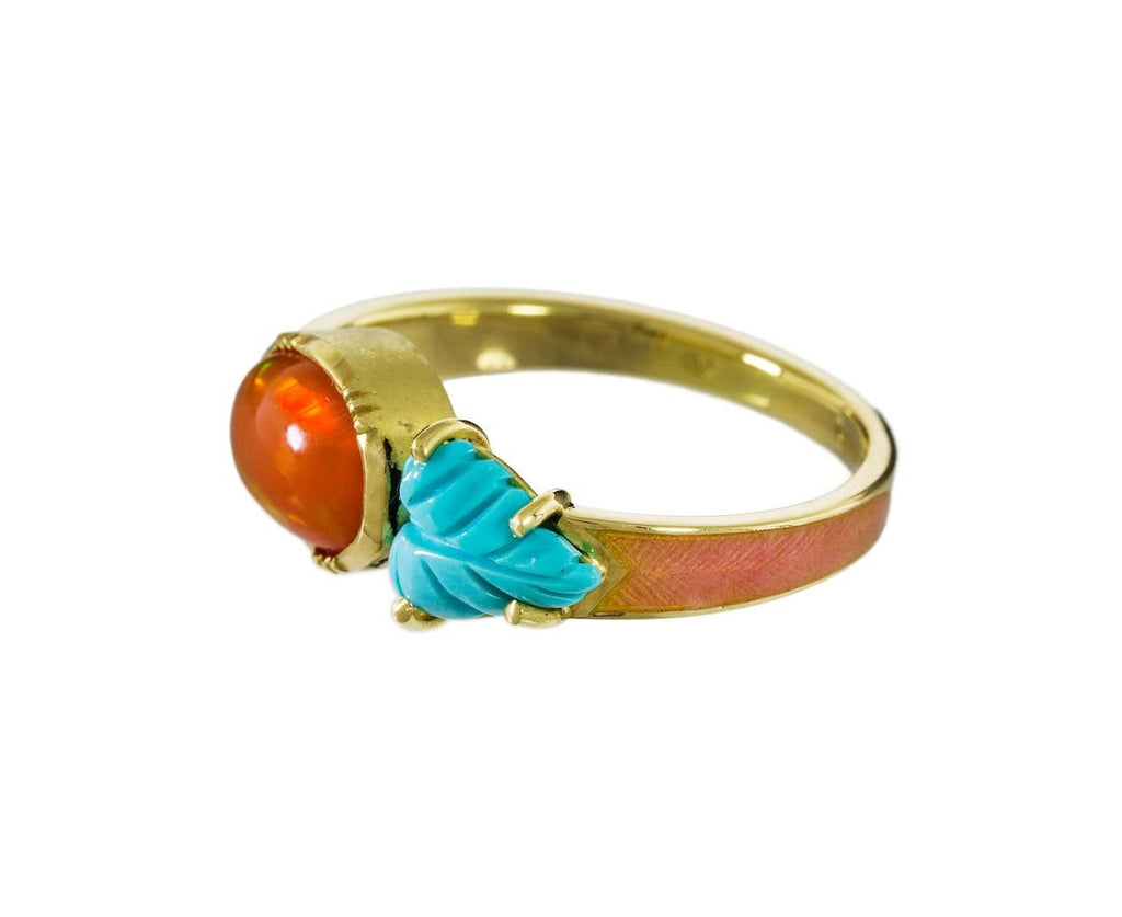 Maya Enamel Fire Opal and Turquoise Leaf Ring - TWISTonline
