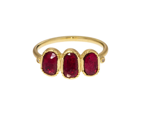 Triple Orbit Ruby Ring