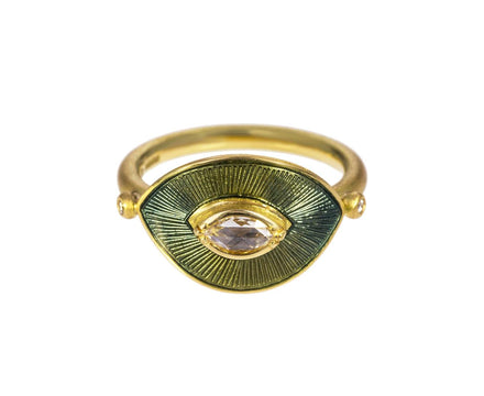 Engraved Enameled Diamond Talisman Ring - TWISTonline