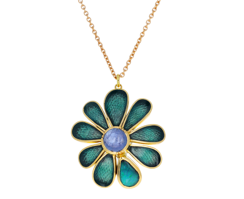 Sapphire and Boulder Opal Daisy Enamel Necklace