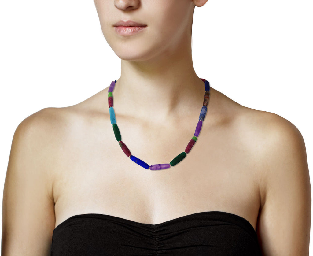 Brooke Gregson Lapis, Amethyst and Ruby in Ziosite Mixed Gem Necklace shown on model