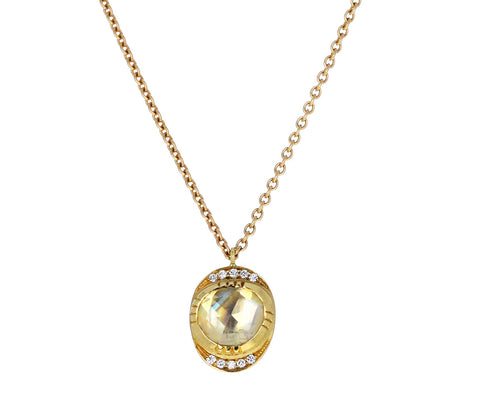 Brooke Gregson Moonstone Orbit Diamond Halo Pendant Necklace