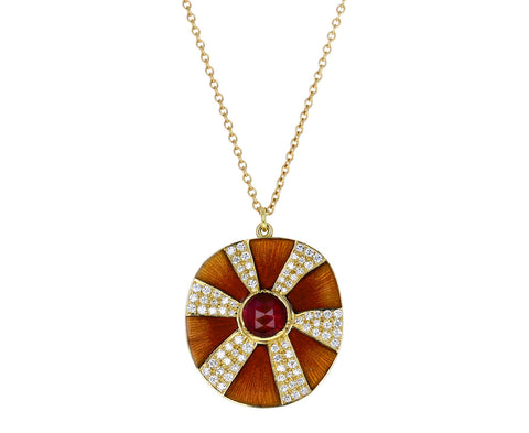 Brooke Gregson Ruby and Diamond Pinwheel Pendant Necklace