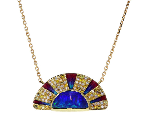 Brooke Gregson Opal, Diamond and Enamel Sunrise Pendant Necklace