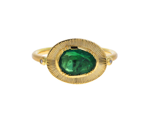 Emerald Engraved Ellipse Ring