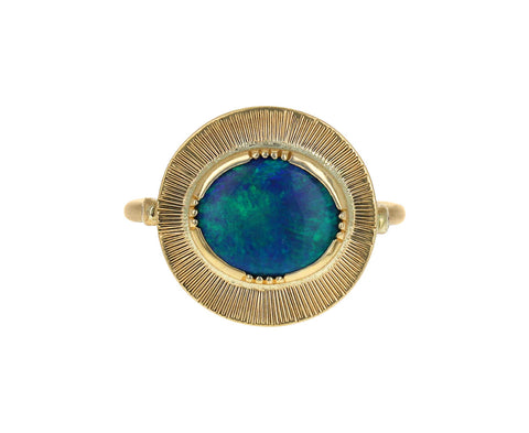 Brooke Gregson Boulder Opal Engraved Ellipse Ring