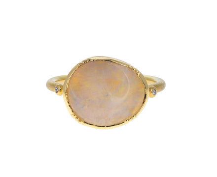 White Fire Opal Ellipse Ring