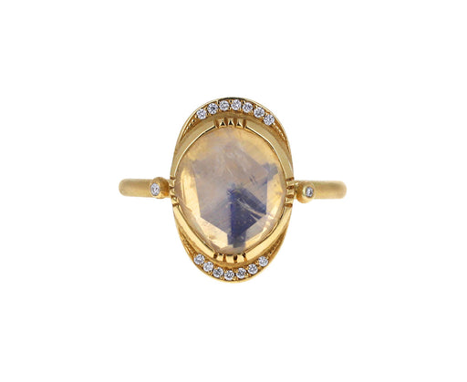 Brooke Gregson Moonstone and Diamond Ellipse Halo Ring