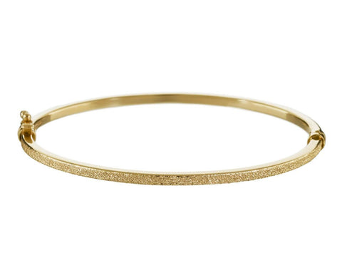 Florentine Half Sparkly Yellow Gold Bangle  zoom 1