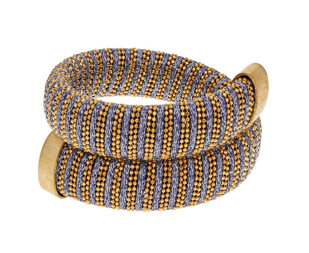 Yellow Gold Blue-Gray Caro Bracelet zoom 1_carolina_bucci_yellow_gold_gray_silk_caro_bracel