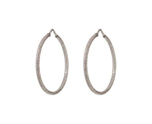 Small White Gold Sparkly Florentine Hoops zoom 1