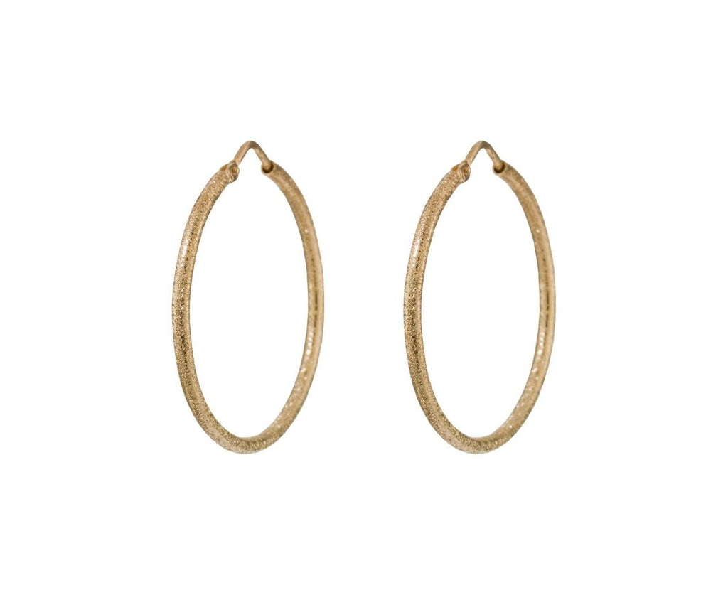 Yellow Gold Florentine Sparkly Hoops zoom 1
