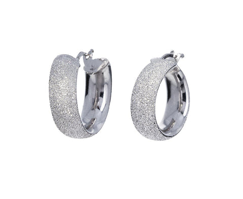 White Gold Flat Sparkly Hoop Earrings zoom 1_carolina_bucci_white_gold_flat_sparkly_hoop_earr