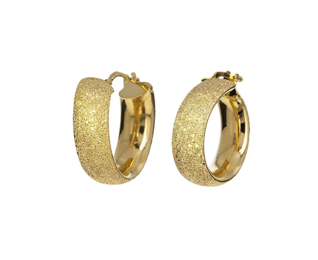 Yellow Gold Flat Sparkly Hoop Earrings zoom 1_carolina_bucci_gold_flat_sparkly_hoop_earrings