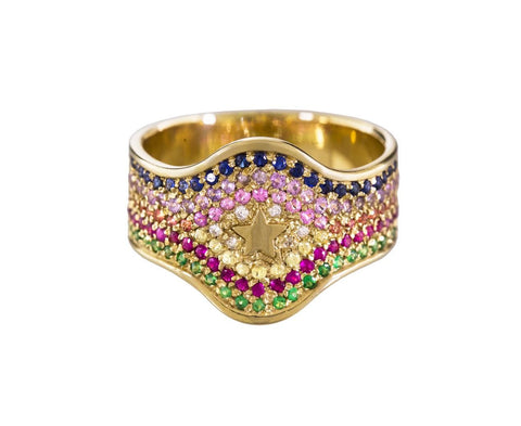 Superstellar Multi-Gem Shield Ring zoom 1_carolina_bucci_gold_gem_superstellar_summer_stri