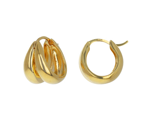 Gold 1930's Double Hoop Earrings