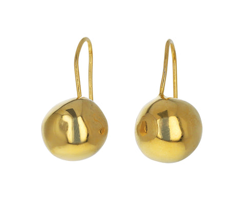 Simple Ball Gold Drop Earrings