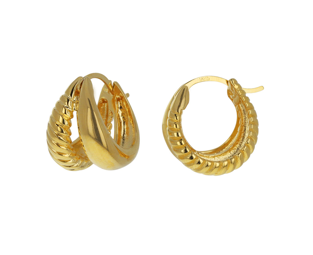 Double Rope Gold Hoops
