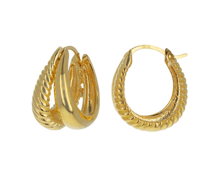 Large Double Rope Gold Hoops