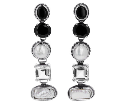 Onyx, Peal and Crystal Medium Firenze Drop Earrings