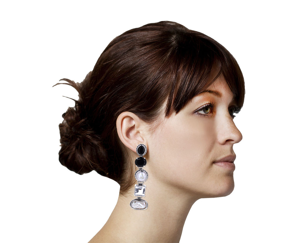 Onyx, Pearl and Crystal Medium Firenze Drop Earrings