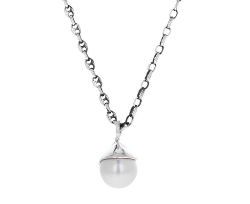 Silver Freshwater Pearl Tear Pendant Necklace