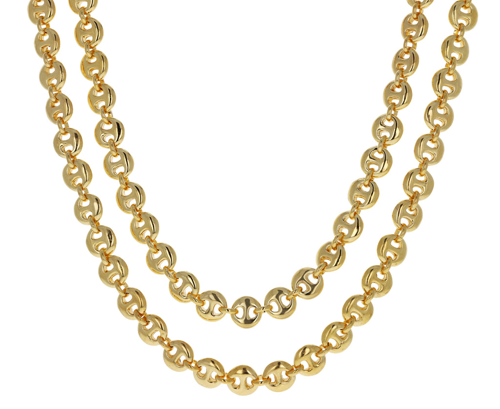Long Gold Circle Chain Necklace
