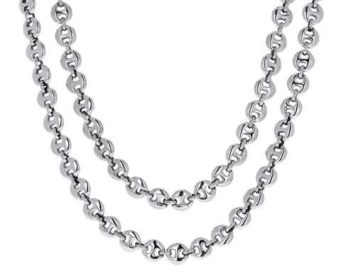 Long Silver Circle Chain Necklace