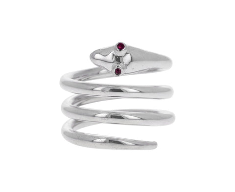 Ruby Eyed Snake Ring