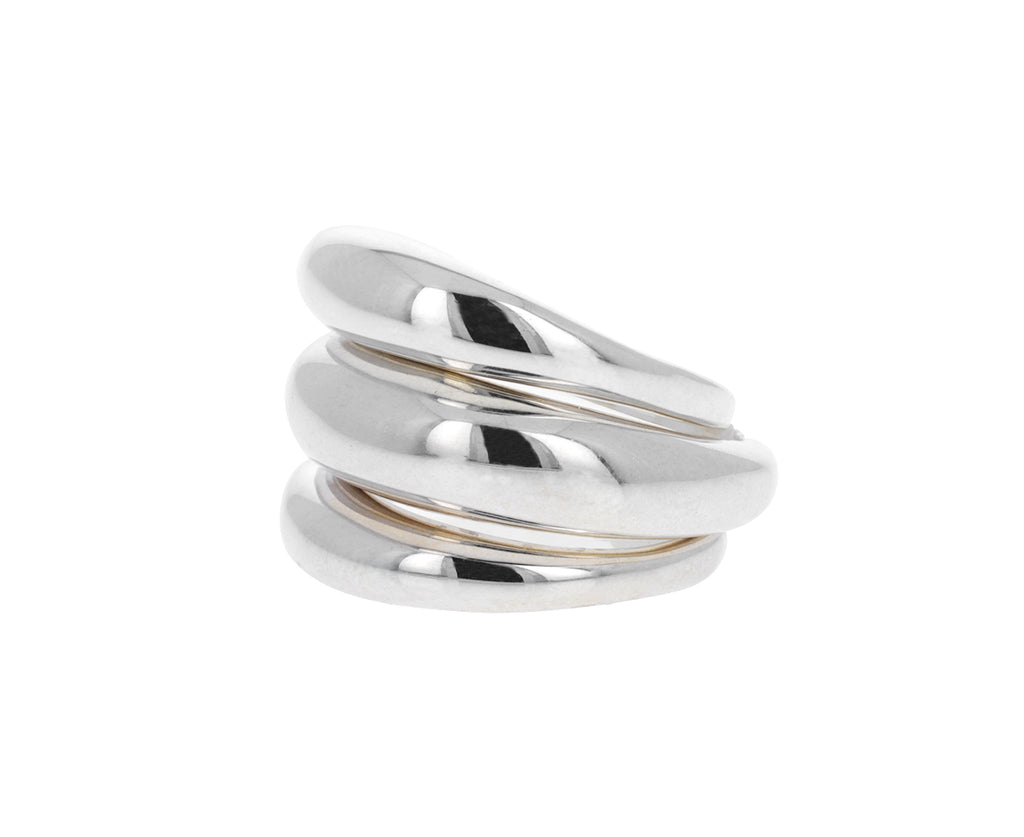 Set of Three Silver Bubble Rings