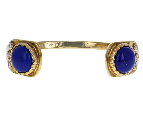 Lapis and Diamond Bronze Cuff Bracelet