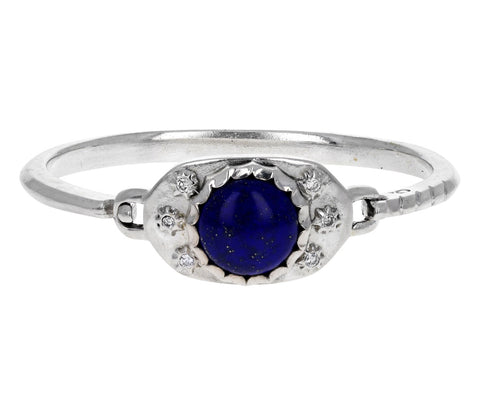Diamond and Lapis Silver Hinge Cuff Bracelet