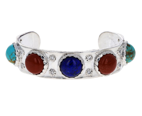 Lapis, Carnelian and Turquoise Cabochon Cuff Bracelet