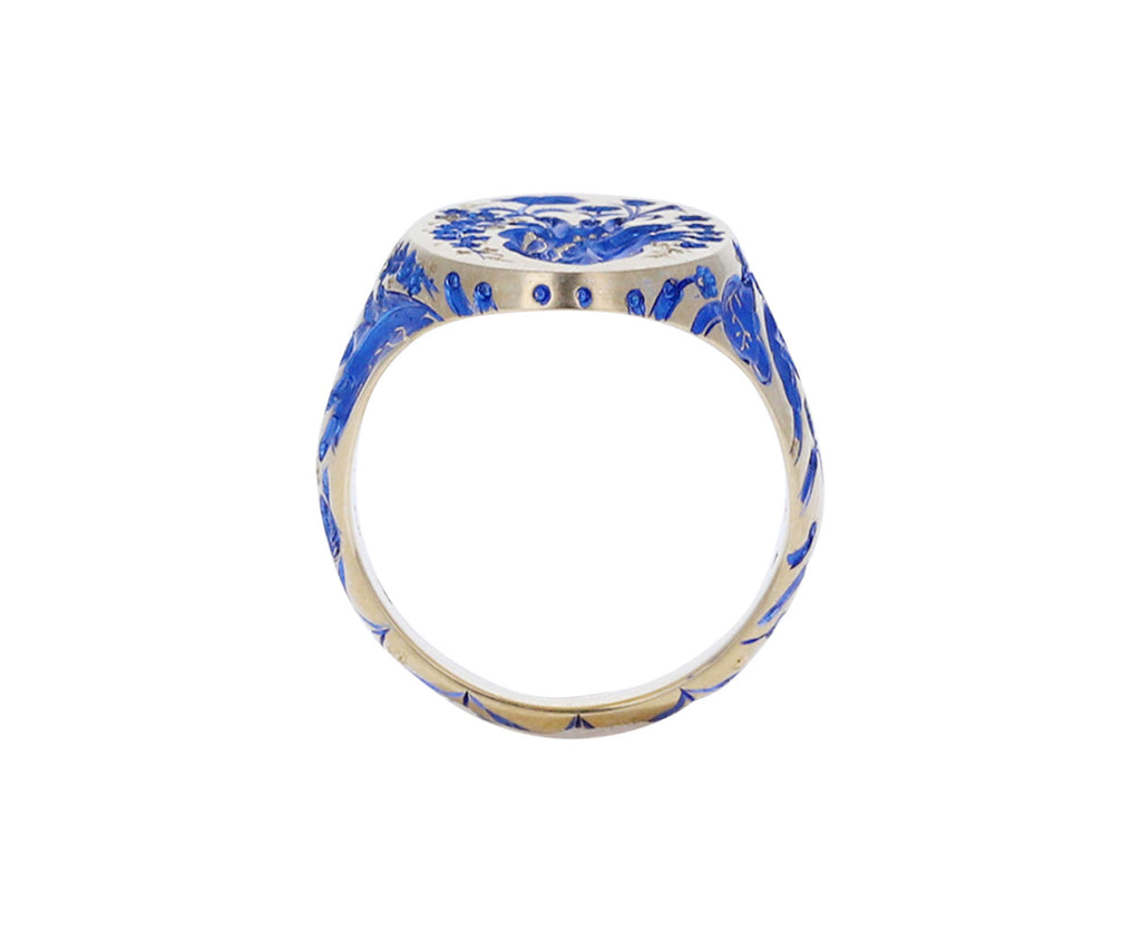 Blue Lacquer Heart Ring
