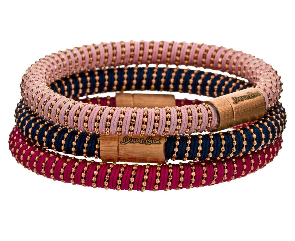 Magenta and Pink Gold Twister Bracelet - TWISTonline