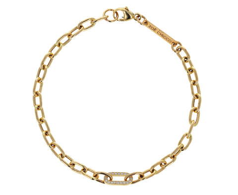 Medium Oval Link Diamond Chain Bracelet