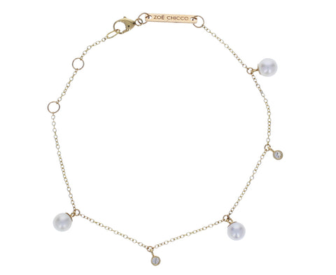 Pearl and Diamond Dangle Bracelet